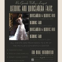 Rio Grande Valley's Largest Wedding Fair  Sunday October 20th All events are from noon to 5PM at the McAllen Convention Center  Fasion Shows Food & Cake Sampling Money Saving Offers ...and much more! Location:  McAllen Convention Center Start: Sun, 20 October 2013 @ 12:00 pm End: Sun, 20 October 2013 @ 5:00 pm   For more information call:: (888) 828-1314   or visit www.weddingfairevents.com