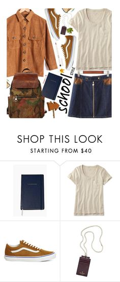 """Untitled #1785"" by beebeely-look ❤ liked on Polyvore featuring Kate Spade, L.L.Bean, Vans, Topshop, BackToSchool, schoolstyle, sammydress, backpacks and denimskirt"