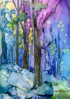 Original alcohol ink painting on Yupo by Carolyn Opderbeck, artist Sunset in the woods