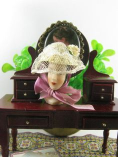 White hat with veil and roses style  '800 s di Bluesmini su Etsy