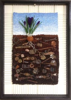 Dimensional Weaving - Martina Celerin fiber art Not as clear a pic as it could be, but I like the concept of incorporating an item/s into the weave - thinking keys at the mo. Weaving Projects, Weaving Art, Tapestry Weaving, Loom Weaving, Hand Weaving, Peg Loom, Trash Art, Creative Textiles, Textile Fiber Art