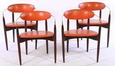 Different upholstery and you're in business!  - 4 DANISH STYLE MID CENTURY MODERN ARMCHAIRS : Lot 26