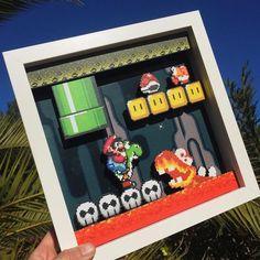 Super Mario World Shadow Box Super Mario, Nintendo Room, Mario Room, Perler Bead Mario, Cuadros Diy, Home Music, Game Room Decor, Room Decorations, 8bit Art