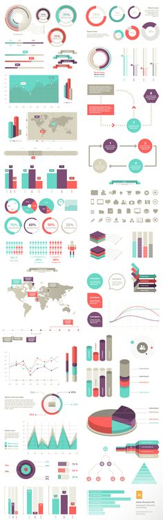 Graph and infographic material 100 Infographic Elements (Vecto . Graphisches Design, Graph Design, Chart Design, Diagram Design, Information Visualization, Data Visualization, Information Design, Information Graphics, Charts And Graphs