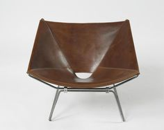 Pierre Paulin; Stainless Steel and Leather 'Ring 273' Chair for TV, c1953.