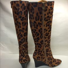 Adrienne Vittidini leopard pony hair boots. Gorgeous women's leopard print pony hair wedge knee boot. 3 1/2 inch wedge heel height, nonslip rubber sole. Brand-new never worn! Does not come with original box ❤️❤️ Adrienne Vittadini Shoes