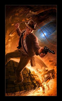 Interesting story: Hasbro contacted me in 2008 in search of a new illustrator for their 2009 Indiana Jones line. Indiana Jones and the Dynamic Illustration Henry Jones Jr, Indiana Jones Adventure, Indiana Jones Films, Cinema, The Lone Ranger, Harrison Ford, Film Serie, Cultura Pop, Movie Tv