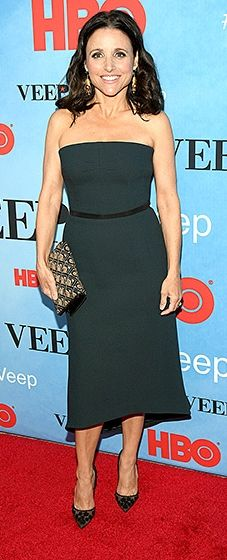 Veep's leading lady toasted the newest season of her hit series in a strapless, forest green dress. She carried a beaded clutch and added dotted heels.