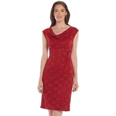 Connected Apparel Sequined Drapeneck Lace Dress ($80) ❤ liked on Polyvore featuring dresses, red, sequin lace dress, red lace dresses, lace cocktail dresses, red dress and sheath dresses