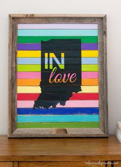 indiana love sign - made with paint sticks.
