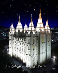 Salt Lake City LDS Temple  a beautiful sight at night ♥