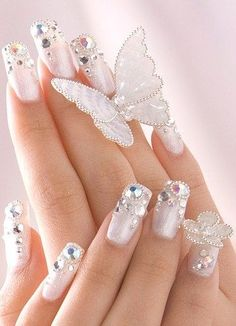 Frosted white nails