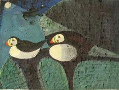 Kittie Jones, Shetland Puffins, Ink and Gouache on paper
