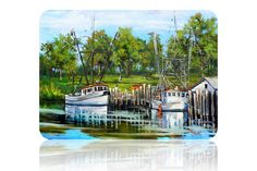 Shop for art on Etsy, the place to express your creativity through the buying and selling of handmade and vintage goods. Shrimp Boat, New Orleans Art, New Orleans French Quarter, Glass Cutting Board, Colorful Paintings, Kitchen Art, Painters, Louisiana, Boats