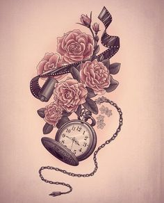 Potential tattoo art. Pink roses and pocket watch