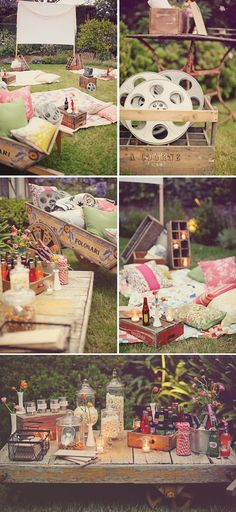 party inspiration for backyard movie night bday party! Love the colors and feel of thi. inspiration for backyard movie night bday party! Love the colors and feel of this:) Use the crates for small tables. Backyard Movie Nights, Outdoor Movie Nights, Kino Party, Outdoor Movie Party, Backyard Movie Party, Backyard Bbq, Backyard House, Outdoor Cinema, Outdoor Fun