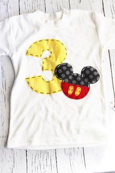 Mickey mouse birthday shirt, 3, three, girl boy t shirt, on Etsy, $24.99