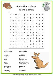 Australian animals word search for kids, illustrated
