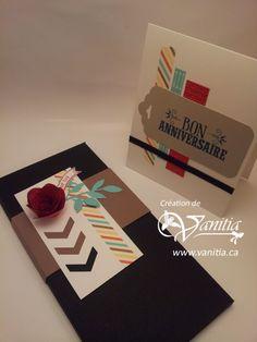 Boîte enveloppe et carte d'anniversaire mettant en vedette le washi tape et les perforatrices Chevrons et étiquette festonnée,