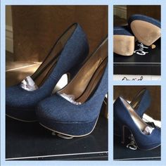 """Qupid denim platforms 1"""" platform and 5"""" heel 🌟 Size 7 🌟 worn 1 time to a wedding 🌟 Perfect condition 🌟 comes with the original box 🌟 pet/smoke free home Qupid Shoes Heels"""