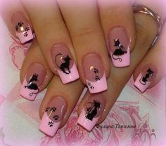 nails with kitties!!!
