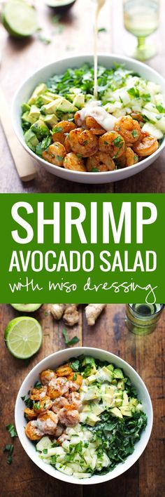 This Spicy Shrimp and Avocado Salad has cucumbers, baby kale, shrimp, and avocado with a creamy miso dressing. SO YUMMAY. | https://pinchofyum.com