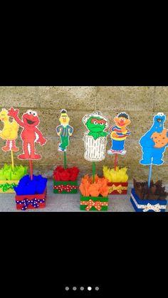 Sesame street center pieces party decorations