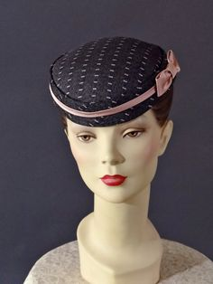 eb838278837 Vintage Pillbox Gray and Pink Tweed 1950 s Hat by SueEllensFlair 1950s  Fashion Women