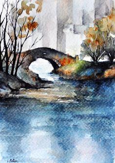 ORIGINAL Watercolor Painting, Miniature Artwork, Gapstow Bridge Central Park New York 4x6 inch                                                                                                                                                                                 More