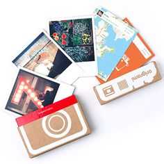 Ori­grami: prints your Insta­gram pho­tos Polaroid-style or on a roll of film and ships them out in super fun & orig­i­nal pack­ag­ing. The double-sided prints include a photo on one side and the date and num­ber of likes on the other.