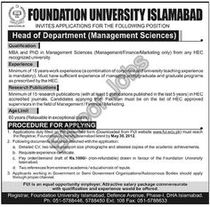 HOD (Management Sciences) Required in Foundation University Islamabad