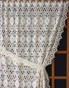 Macrame curtain tradition in ecru