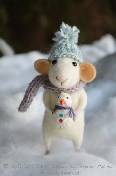 Little Christmas Mouse with snowman by feltingdreams on Etsy