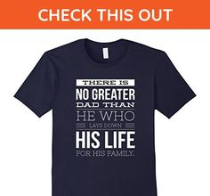 Mens Christian Family Shirt- No Greater Dad Than He Who Lays Down XL Navy - Relatives and family shirts (*Amazon Partner-Link)