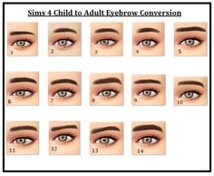 MAXIS MATCH EYEBROWS FOR DAYS hi! here are all of the sims 4 child eyebrows converted for adults! all have 9 ea natural colours, they're all unisex and enabled for aliens :) these took so long omg this is a pretty big post, so I'm going to leave the...