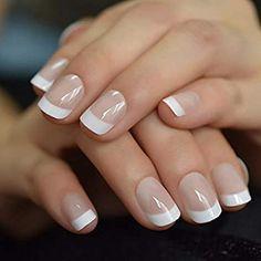 White French Nails, White Nails, Beautiful Nail Polish, Glam Nails, Diy Manicure, Nail Polish Designs, Artificial Nails, Nails On Fleek, Short Nails