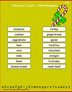 Christmas Treats vocabulary words, interactive word magnet game, vocabulary magnet games, arrange the magnets in alphabetical order.
