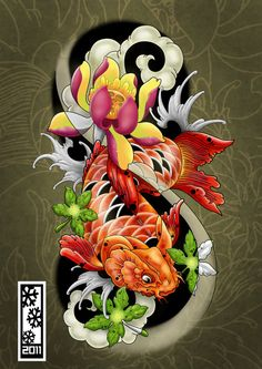 Enjoy curated & Just for Fun and Sharing! koi tattoo flash by tylerrthemesmer on deviantART Koi Dragon Tattoo, Pez Koi Tattoo, Koi Tattoo Sleeve, Japanese Sleeve Tattoos, Tatto Koi, Koy Fish Tattoo, Tattoo Forearm, Tattoo Ink, Koi Tattoo Design
