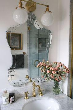 luxe-parisian-master-bathroom-renovation-a-glass-of-bovino - Before After DIY Parisian Bathroom, Parisian Apartment, Dream Apartment, Bathroom Vintage, Parisian Decor, French Bathroom, French Country Bathroom Ideas, Parisian Room, Vintage Apartment Decor