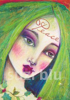 Suzi Blu - Peace on Earth Christmas Angel Mixed Media Art Print