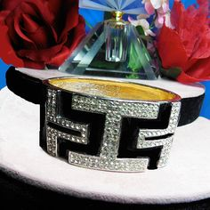 CINER Art Deco black enamel bracelet Signed by VINTAGEJOOLSFORYOU
