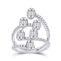 14kt White Gold Baguette Diamond Floating Cluster Ring for Women 1 Cttw Tiea Fashion Rings, Style Fashion, 3 Carat, Diamond Settings, Baguette Diamond, Cluster Ring, Gold Material, Precious Metals, Diamond Jewelry