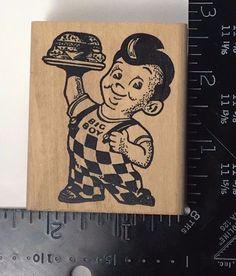 BIG BOYS BURGERS Carmen's Veranda Rubber Stamp Old Fashioned Fast Food #320