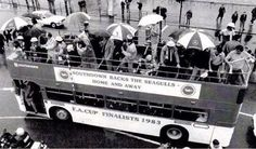 Southdown Bus on Brighton seafront supporting Brighton and Hove Albion - FA Cup Finalists 1983