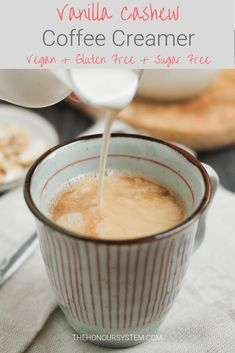 Avoiding dairy and sugar but still want to enjoy your morning coffee? This Vanilla Cashew Coffee Creamer is vegan, gluten free and completely sugar free. I'm a coffee in the morning person. One hundred percent. Sugar Free Coffee Creamer, Dairy Free Coffee Creamer, Vanilla Coffee Creamer, Homemade Coffee Creamer, Coffee Creamer Recipe, Natural Coffee Creamer, Healthy Coffee Creamer, Sugar Free Recipes, Sugar Free Vegan