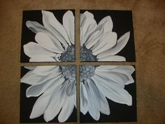 Black and White Daisy Painting on Canvas by DesignsbyAE on Etsy, $60.00