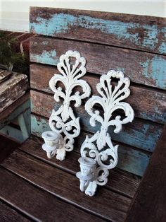 Vintage Shabby Chic Candle Holders Candelabra Wall Sconce Set Baroque Rococo Ornate Repurposed Distressed Chippy French Country Pair Burwood