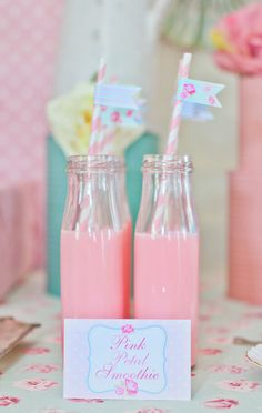 Pink smoothies at a shabby chic party
