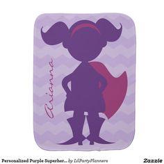 Personalized Purple Superhero Girl Silhouette Burp Cloth