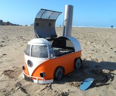 Handmade to order. Very high quality VW Camper van log burner BBQ. Handmade to orde Vw Camper, Vw Bus, Volkswagen, Kombi Motorhome, Metal Fire Pit, Cool Fire Pits, Metal Projects, Welding Projects, Diy Projects